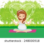 pregnant woman relax doing yoga | Shutterstock .eps vector #248030518