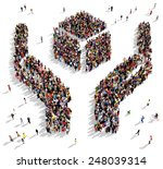 large group of people seen from ... | Shutterstock . vector #248039314