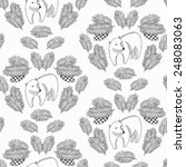 Bear And Cone Seamless Pattern. ...