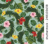 tropical flowers seamless | Shutterstock .eps vector #248103658