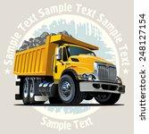 vector cartoon dump truck.... | Shutterstock .eps vector #248127154