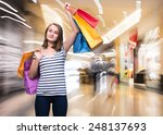 young teen girl with shopping... | Shutterstock . vector #248137693