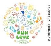 love run color vector icons set.... | Shutterstock .eps vector #248166439