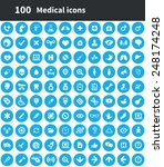 100 medical icons  blue circle... | Shutterstock . vector #248174248