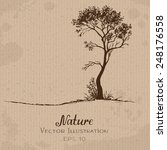 lonely tree. hand drawn vector... | Shutterstock .eps vector #248176558