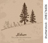 two fir trees. hand drawn...   Shutterstock .eps vector #248176606