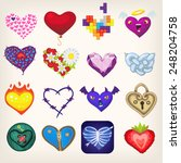 set of icons with heart shaped... | Shutterstock .eps vector #248204758