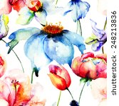 seamless wallpaper with... | Shutterstock . vector #248213836