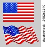 american flag set on grey. | Shutterstock .eps vector #248261140