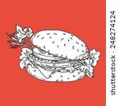 sandwich  hamburger  hand draw | Shutterstock .eps vector #248274124