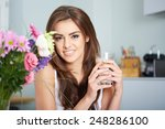 a portrait of young woman with... | Shutterstock . vector #248286100
