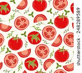 vector red tomatoes seamless... | Shutterstock .eps vector #248289589