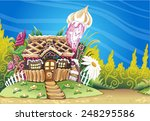 fantasy marzipan sweets house... | Shutterstock . vector #248295586