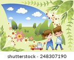 cute girl and boy in spring... | Shutterstock .eps vector #248307190