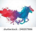 Stock vector running horse 248307886