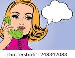 pop art cute retro woman in... | Shutterstock .eps vector #248342083