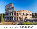 ROME - JANUARY 4: View of the Coliseum on January 4, 2015. The Coliseum is one of the most famous monument in the world. - stock photo