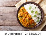 shrimps in curry sauce and rice ... | Shutterstock . vector #248363104