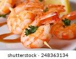 Tasty Grilled Shrimp On Wooden...