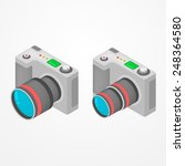 two modern foto cameras with... | Shutterstock .eps vector #248364580