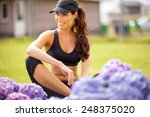 young woman posing in fitness... | Shutterstock . vector #248375020