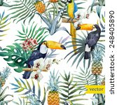 bird  tropical  palm tree ... | Shutterstock .eps vector #248405890