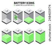isometric battery icon set | Shutterstock .eps vector #248405974