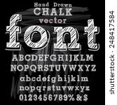 hand drawn font with chalk on... | Shutterstock .eps vector #248417584