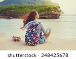 female traveler admiring a... | Shutterstock . vector #248425678