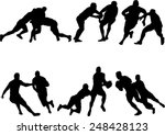 the set of 6 rugby silhouette | Shutterstock .eps vector #248428123