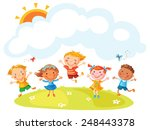 happy cartoon kids jumping with ... | Shutterstock .eps vector #248443378