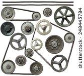 old metal pulleys with belt. | Shutterstock . vector #248445784