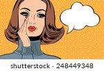 pop art cute retro woman in...   Shutterstock .eps vector #248449348