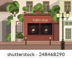 a small coffee shop on the... | Shutterstock .eps vector #248468290