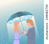 couple under an umbrella. woman ...   Shutterstock .eps vector #248482750