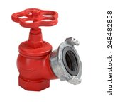 Red iron valve oblique fire hydrant with aluminum coupling for quick connection of a fire hose, Isolated on white background, saved path contour selection. - stock photo