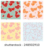 Four Seamless Heart Patterns...