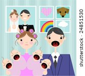 crying babies with mum and dad | Shutterstock .eps vector #24851530