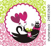 valentines day card cat with... | Shutterstock . vector #248515630