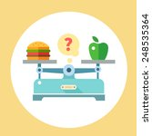 Apple And Hamburger On Scales....