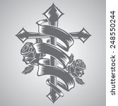 cross with ribbon tattoo | Shutterstock .eps vector #248550244