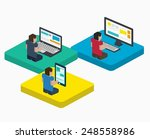 people work on digital devices... | Shutterstock .eps vector #248558986
