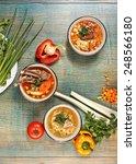 three lagman and shurpa soups... | Shutterstock . vector #248566180