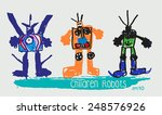 child's drawing of the robot. | Shutterstock .eps vector #248576926