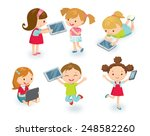 kids with gadgets | Shutterstock .eps vector #248582260