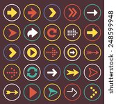 flat arrow icons sign symbol set