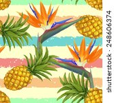 tropical exotic flowers and... | Shutterstock .eps vector #248606374