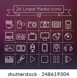 linear vector media icons set...