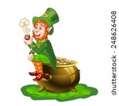 leprechaun sitting on a pot of... | Shutterstock .eps vector #248626408