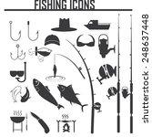fishing icons set | Shutterstock .eps vector #248637448